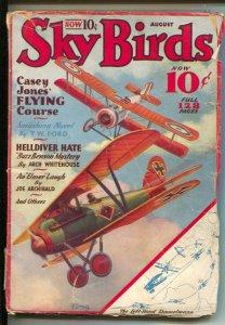 Sky Birds 8/1933-Ace-Bi-plane battle cover by Frank Tinsley-Buzz Benson myste...