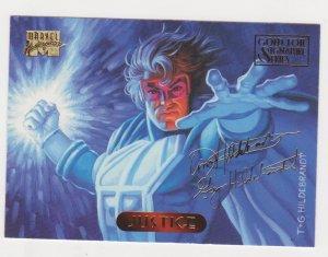 1994 Marvel Masterpieces Gold Foil Signature Series #64 Justice/Hiderbrant