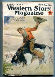 Western Story Magazine Pulp September 3 1922- Grotz cover VG