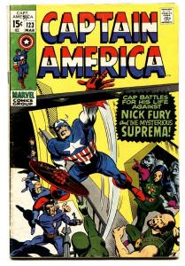 CAPTAIN AMERICA #123 comic book 1970 MARVEL NICK FURY GENE COLAN VG
