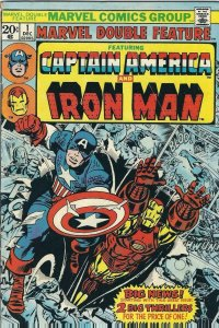 MARVEL DOUBLE FEATURE #1, VG+, Captain America, Iron Man, 1973