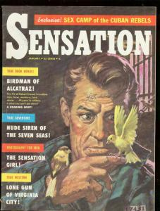 SENSATION MAGAZINE JAN 1959-BIRDMAN ALCATRAZ-LOVECRAFT VF-