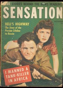 SENSATION MAGAZINE OCT 1943-GOOD GIRL ART-TANK KILLER- G