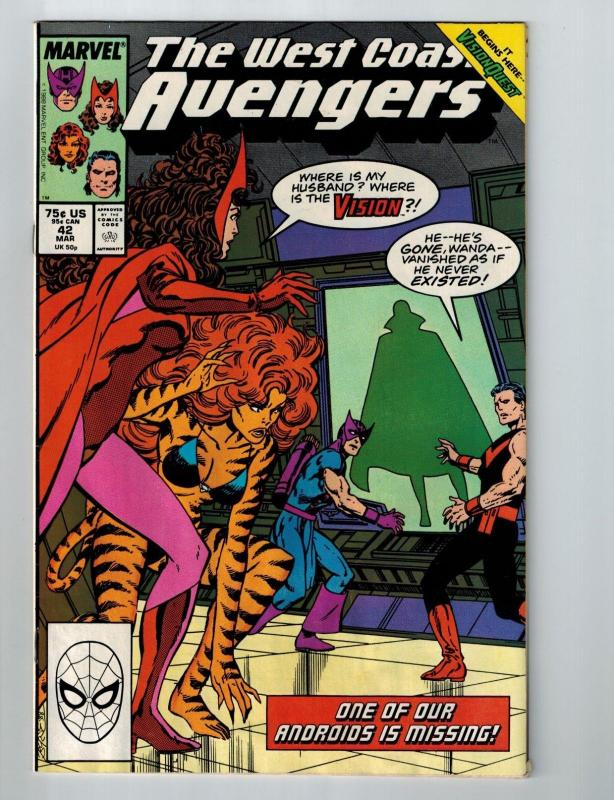 West Coast Avengers # 42 Marvel Comic Books Hawkeye Scarlet Witch Vision!!!! S53