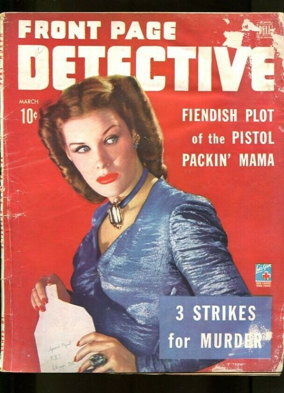 FRONT PAGE DETECTIVE-MARCH-1944-G/-SPICY-MURDER-RAPE-KIDNAPPING-MASSACRE G