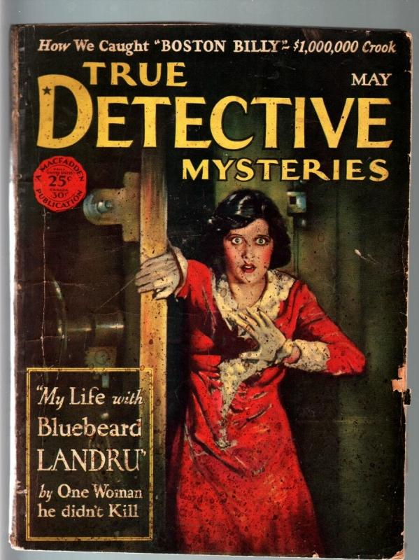 TRUE DETECTIVE MYSTERIES PULP-May 1928-CHINESE CRIME-HORROR--TERROR-MURDER FR