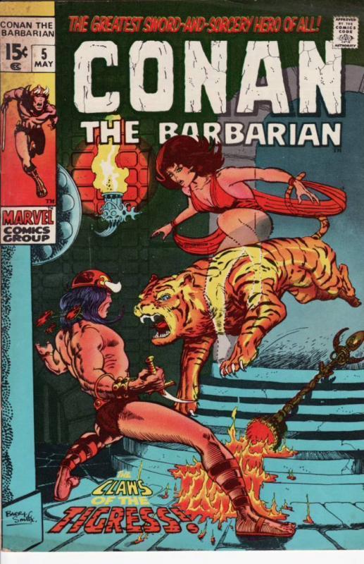 CONAN THE BARBARIAN #5 BARRY SMITH ART TIGER COVER 1971 VG