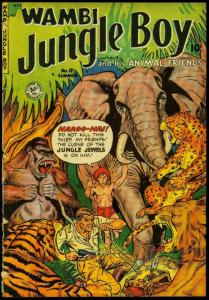 Wambi Jungle Boy #12 1951- Elephant and tiger cover- Fiction House POOR