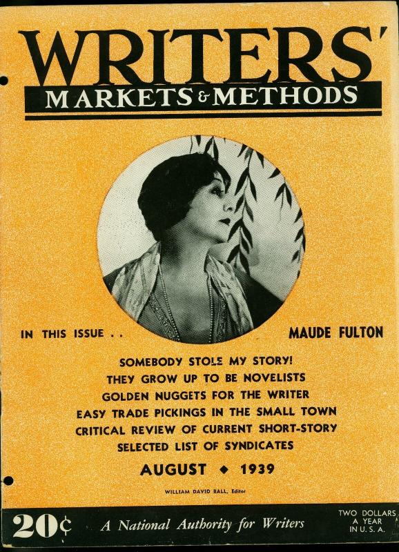 Writer's Markets and Methods August 1939- Pulp Magazines FR/G