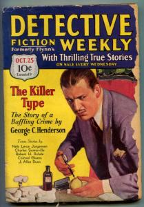 Detective Fiction Weekly Pulp October 25 1930- poison injection cover