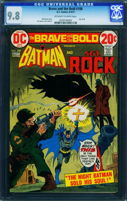The Brave and the Bold #108 CGC 9.8 1972- Batman - Sgt. Rock 0259194004