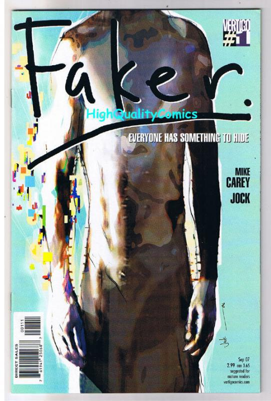 FAKER #1, NM+, Mike Carey, Jock, Hiding What, 2007, more Vertigo in store