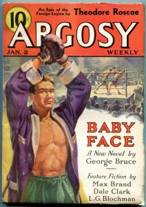 Argosy Pulp January 2 1937- Max Brand- George Bruce- Boxing cover FN