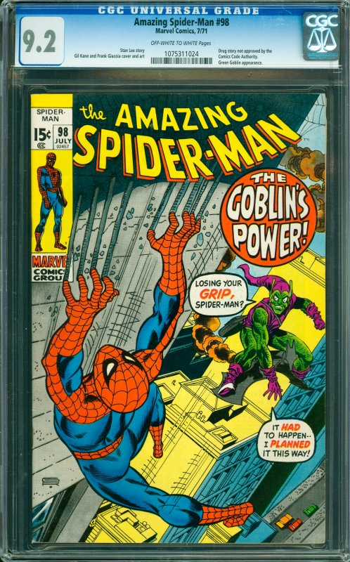 Amazing Spider-Man #98 CGC Graded 9.2 Drug story not approved by the Comics C...
