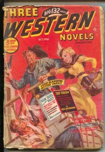 Three Western Novels Pulp #19 10/1949-Norman Saunders gunfight headlight cove...