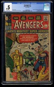 Avengers #1 CGC P 0.5 Off White Thor Captain America Iron Man Hulk! Complete!