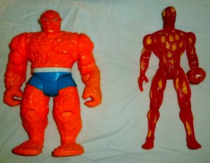 Fantastic Four 1995: Human Torch/Thing action figures