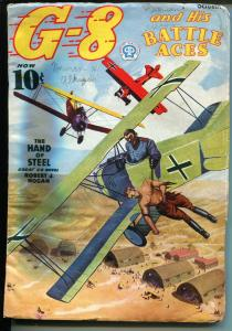 G-8 and His Battle Aces 10/1937-Popular-aviation pulp-aviation menace cover-VG