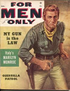 For Men Only 3/1955-Atlas-gunfight cover-Sophia Loren-pulp thrills-Marciano-VG