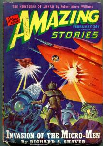 Amazing Stories Pulp February 1946- Invasion of the Micro-Men VG/F