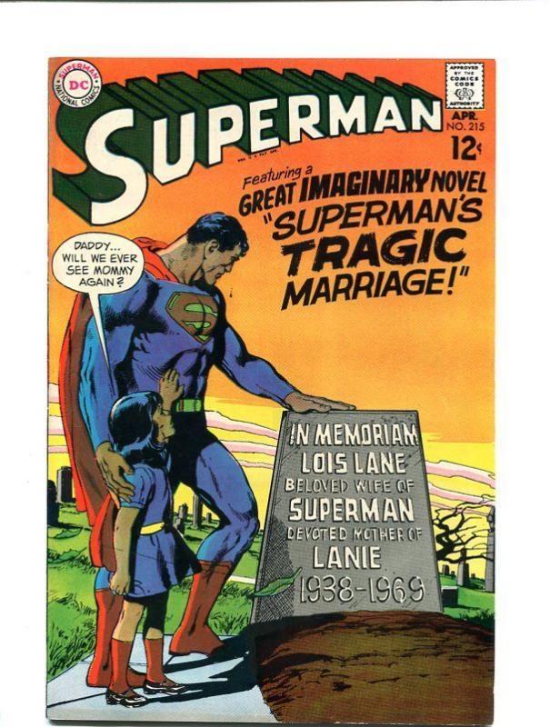 SUPERMAN 215-1969-APRIL-ADAMS COVER-LOIS LANE GRAVESITE VF