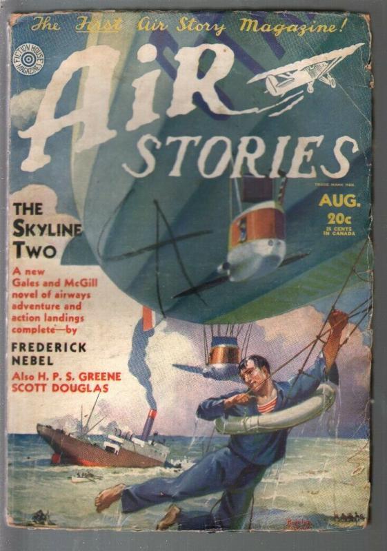 Air Stories 8/1931-earliest aviation pulp title-zeppelin-Belarski-Nebel-VG