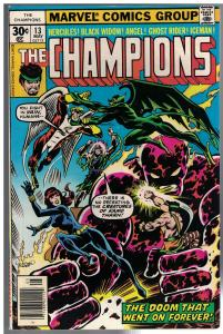 CHAMPIONS 13 FN- May 1977 Hercules, Black Widow,,Angel