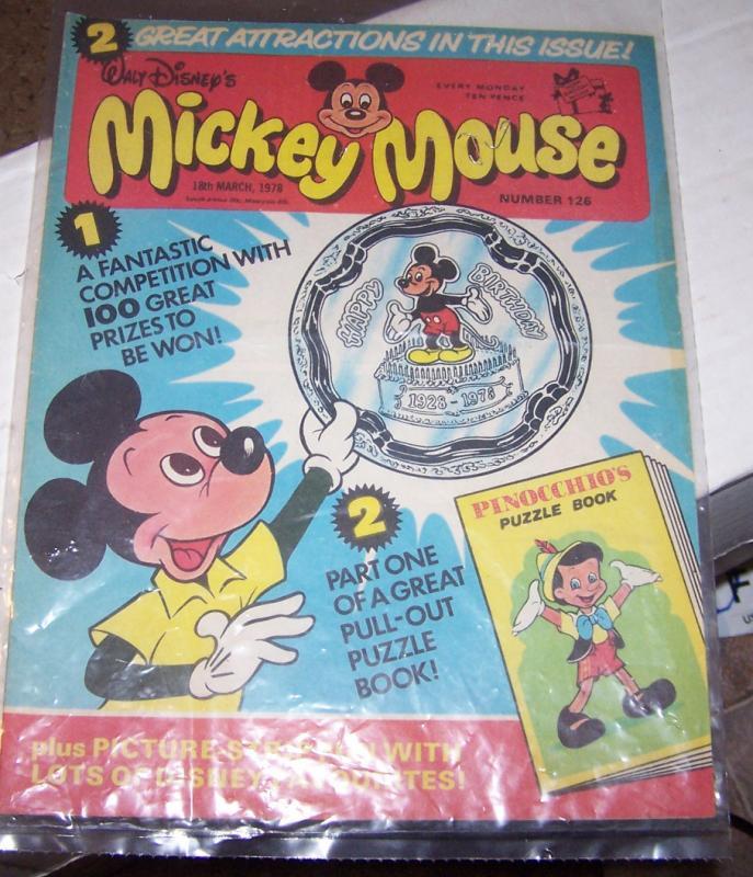 mickey mouse weekly magazine ( uk) # 126  mar 11 1978 walt disney gyro pinocchio