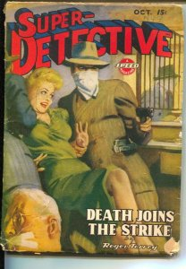 Super-Detective 10/1944-Spicy blonde hostage cover-Hardboiled crime pulp from Ro