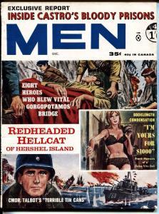 MEN MAGAZINE 12/1963-CASTRO BLOODY PRISON-CHEESECAKE VG