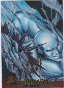 1995 Fleer Ultra X-Men Chromium Gold Signature #7 Iceman Adam Kubert