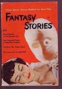 FANTASY STORIES 1950 NOV #1 -MUMMY-SLEEPING NUDE WOMAN FN