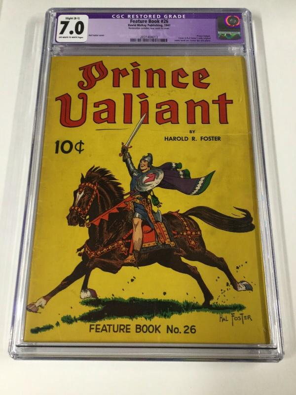 Feature Book 26 Prince Valiant Only Hal Foster Comic Book Art Cgc 7.0 B-1 Rare