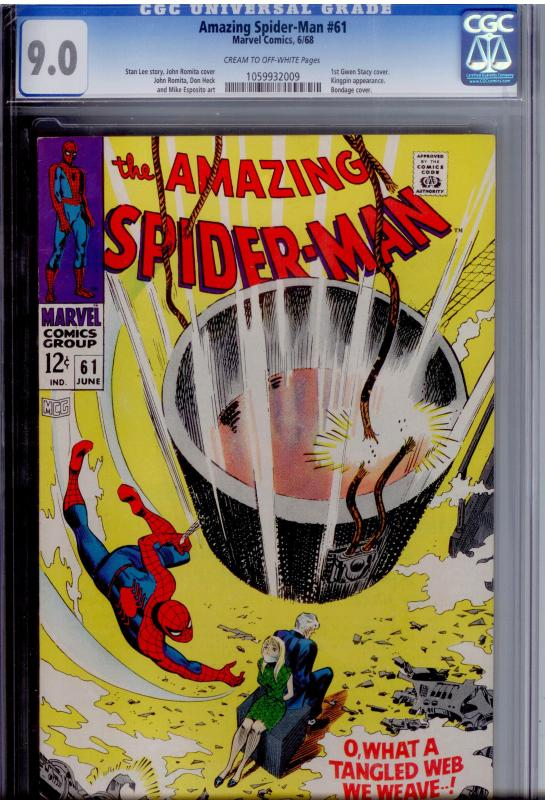 Amazing Spider-Man  #61 CGC 9.0  WELL_CENTERED   1st Gwen Stacy cover; Kingpin