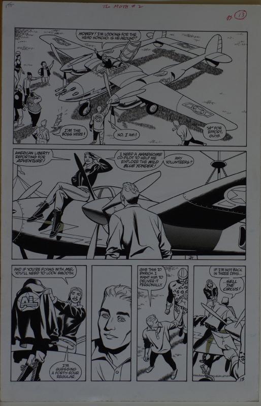 STEVE RUDE / GARY MARTIN original art, THE MOTH #2 pg 13, 11x17, America Liberty