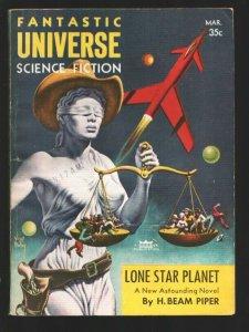 Fantastic Universe Science Fiction 3/1957-Virgil Finlay  cover-Theodore Pratt...