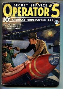 Operator #5 2/1936-Popular-hero pulp-Woman tied to bomb on cover