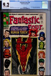 Fantastic Four #54 CGC 9.2 OW/W  3rd app. Black Panther! Black Bolt, Inhumans