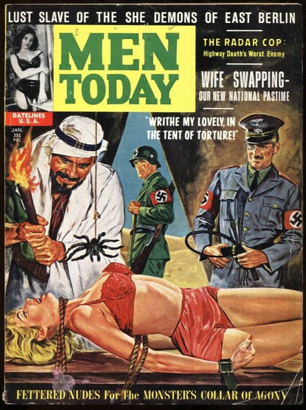 Men Today Jan/1963-Insane Arab/Nazi Spider torture-GGA-Wife Swap