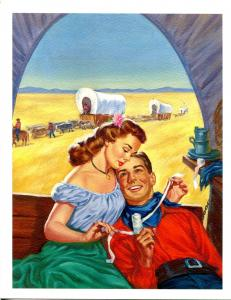 Gloria Stoll Wounded Cowboy Pulp Cover Print- Rangeland Romances February 1949