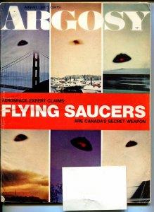 Argosy 8/1969-Popular-WWII-pulp thrills-shrunken heads-flying saucers-VG
