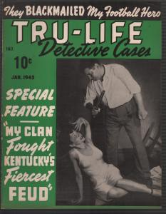 Tru-Life Detective Cases 1/1943-Tayshack-woman beaten-Rose Bowl-horror-crime-VF