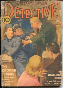 Thrilling Detective 9/1941-hard boiled crime-extortion murder-plane hijack-G-
