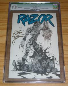 Razor #4 CGC 9.8 tim vigil platinum variant signed by everette hartsoe w/poster