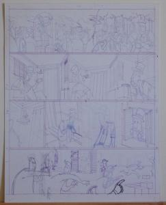 DOUGLAS PASZKIEWICZ original art, ARSENIC LULLABY BIG STALL page 5, 11x14,prelim