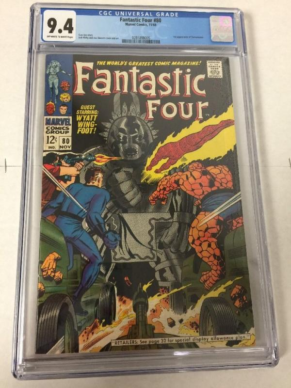 Fantastic Four 80 Cgc 9.4 Ow/w Pages 1st Tomazooma