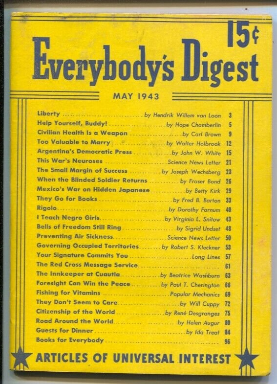 Everybody's Digest #1 5/1943-1st issue-Articles of Universal Interest-Mexico'...