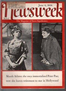 Newsweek 6/6/1938-Maude Adams-Peter Pan cover-Ogden Nash-Tax bill info-VG