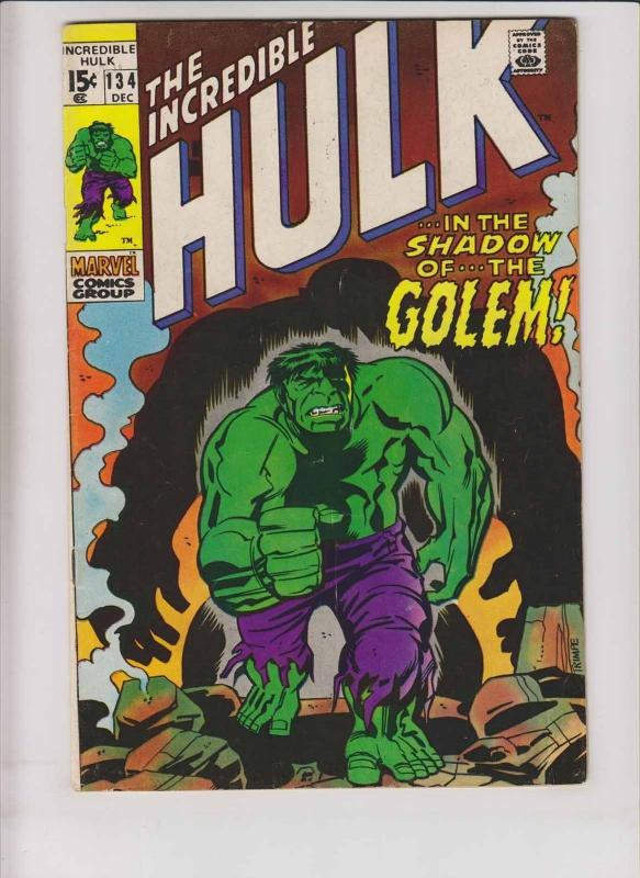 Incredible Hulk #134 FN roy thomas - herb trimpe - bronze age - the golem 1970