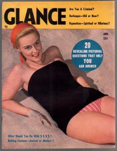 Glance 12/1948-Ann Ziba-spicy pin-ups-torture pix-John Wayne-exploitation-VF